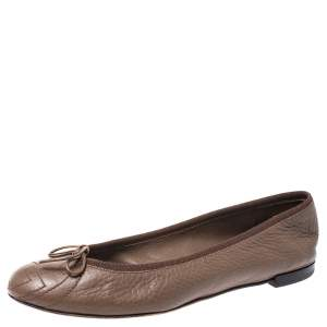 Gucci Brown Leather Soho Ballerina Flats Size 36