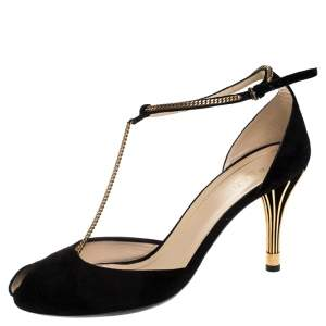 Gucci Black Suede Ophelie Chain Detail Ankle Strap Sandals Size 40