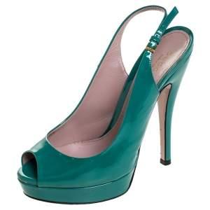 Gucci Teal Patent Leather Sofia Platform Peep Toe Slingback Sandals Size 36