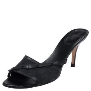 Gucci Black Guccissima Canvas Slide Sandals Size 40