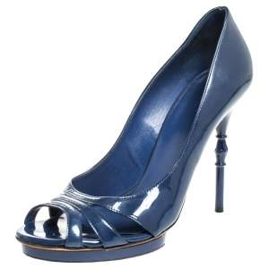 Gucci Blue Patent Leather Open Toe Pumps Size 38