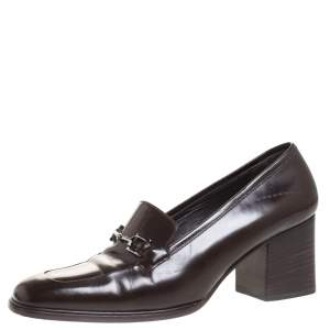 Gucci Brown Leather Horsebit Loafers Pumps Size 38
