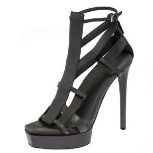 Gucci Grey Leather and Suede Daryl Platform Sandals Size 38