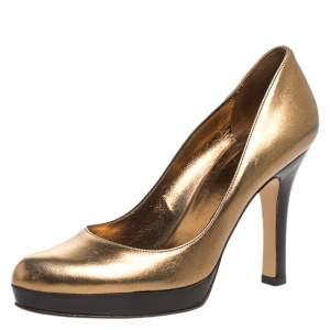 Gucci Gold/Black Leather Platform Pumps Size 36.5