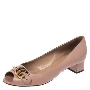 Gucci Pink Leather Marmont GG Peep Toe Block Heel Pumps Size 37.5