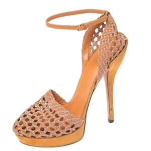 Gucci Two Tone Woven Leather Kyligh Ankle Strap Platform Sandals Size 37