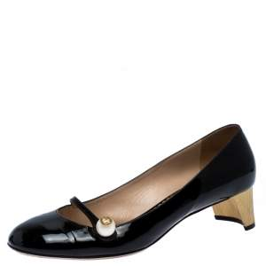 Gucci Black Patent Leather Pearl Detail Mary Jane Pumps Size 40.5