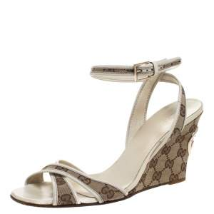 Gucci Beige GG Canvas Cross Strap Wedge Ankle Strap Sandals Size 40