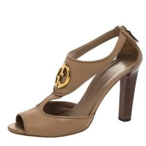 Gucci Beige Leather '1973' Logo Peep Toe Sandals Size 38.5