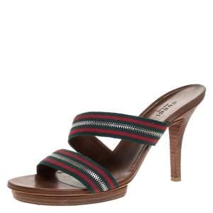 Gucci Tricolor Cross Zip Web Canvas Slide Sandals Size 37.5