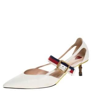 Gucci White Leather Sylvie Web Strap Bamboo Heel Unia Pumps Size 37