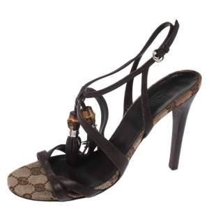 Gucci Brown GG Canvas and Leather Open Toe Bamboo Tassel Sandal Size 37
