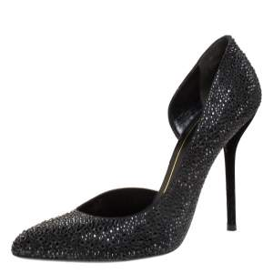 Gucci Black Crystal Embellished Satin and Suede Noah D'Orsay Pumps Size 39
