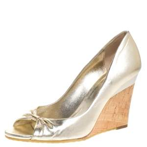 Gucci Metallic Gold Leather Cyprus Open Toe Cork Wedge Pumps Size 38