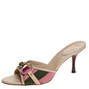 Gucci Multicolor Stripe Canvas and Leather Bamboo Horsebit Slide Sandals Size 36