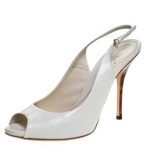 Gucci White Leather Peep Toe Slingback Sandals Size 40.5