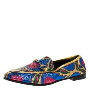 Gucci Multicolor Floral Brocade Fabric Horsebit Jordaan Loafer Flats Size 38