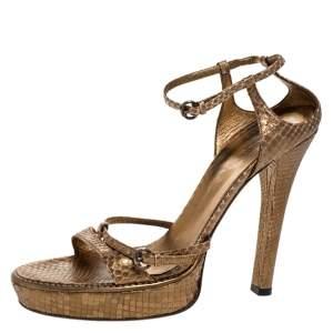 Gucci Gold Python Leather Strappy Platform Sandals Size 39
