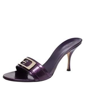 Gucci Purple Glitter Patent Leather Open Toe Sandals Size 39.5