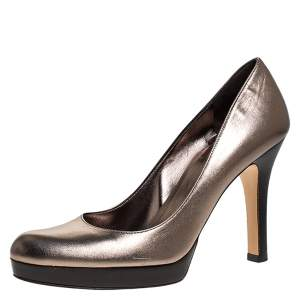 Gucci Metallic Leather Lisbeth Platform Pumps Size 39