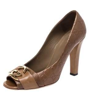 Gucci Brown Guccissima Leather GG Logo Peep Toe Pumps Size 39