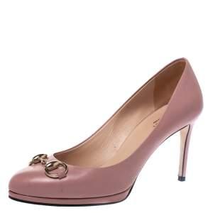 Gucci Pink Leather Horsebit Pumps Size 37.5
