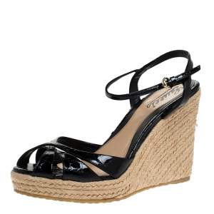Gucci Black Guccissima Patent Leather Strappy Espadrille Wedge Platform Sandals Size 38