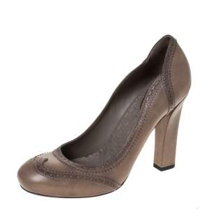 Gucci Grey Brogue Leather Pumps Size 38.5