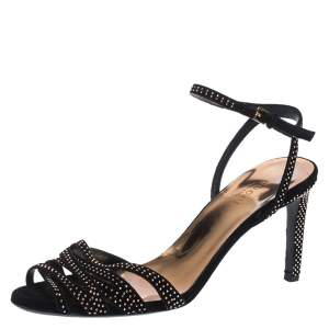Gucci Black Suede Leather Fleur Studded Ankle Strap Sandals Size 37.5