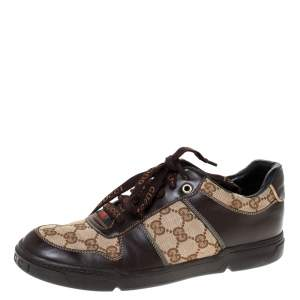 Gucci Beige/Brown GG Canvas and Leather Sneakers Size 38.5