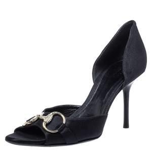 Gucci Black Satin Horsebit D'Orsay Peep Toe Sandals Size 38.5