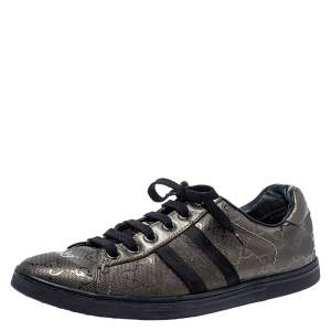 Gucci Metallic Olive Green/Black GG Imprime Canvas Web Low Top Sneakers Size 36