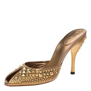 Gucci Metallic Gold Studded Leather Peep Toe Slide Mules Size 38.5