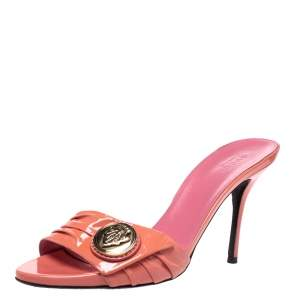 Gucci Coral Pleated Patent Leather Hysteria Slide Sandals Size 37