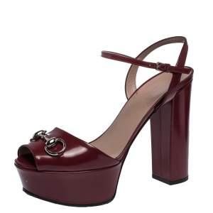 Gucci Burgundy Leather Claudie Horsebit Peep Toe Platform Sandals Size 38.5