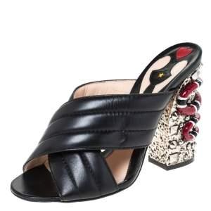 Gucci Black Web Quilted Leather Snake Embellished Slide Sandals Size 38.5