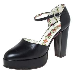 Gucci Black Leather Agon Block Heel Platform Pumps Size 38.5