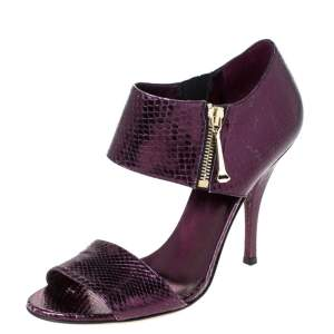 Gucci Purple Python Embossed Leather Open Toe Zip Sandals Size 38