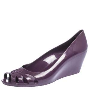 Gucci Purple Jelly Marola Peep Toe Wedge Pumps Size 41