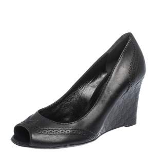 Gucci Black Leather GG Wedge Peep Toe Pump Size 36