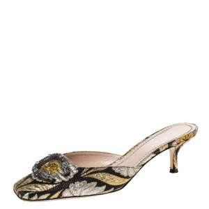 Gucci Black Floral Jacquard Fabric Dionysus Square Toe Slip On Mules Size 37