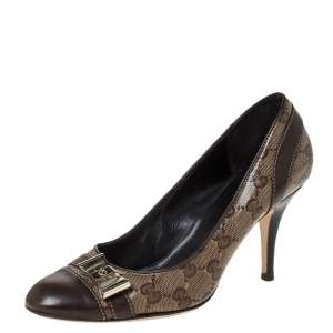 Gucci Brown GG Canvas And Leather Bow Cap Toe Pumps Size 36.5