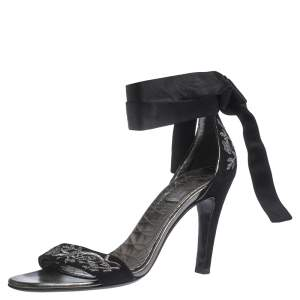 Gucci Black Embroidered Suede and Satin Open Toe Ankle Wrap Sandals Size 39
