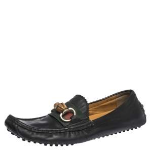 Gucci Black Leather Bamboo Horsebit Loafer Size 37.5