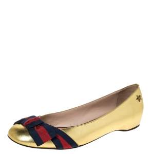 Gucci Metallic Gold Leather Web Bow Ballet Flats Size 39