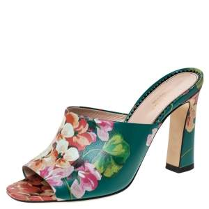 Gucci Multicolor Bloom Print Leather Shanghai Open Mules Size 36