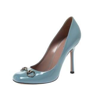 Gucci Blue Patent Leather Jolene Horsebit Pumps Size 38