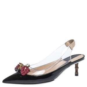 Gucci Black Patent Leather And PVC Eleonor Strawberry Charm Slingback Sandals Size 37.5