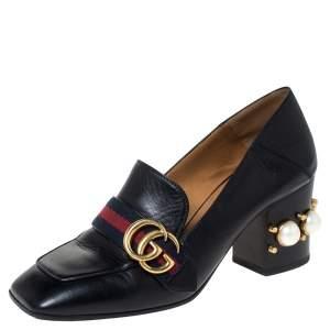 """حذاء كعب عالي غوتشي """"بيتون"""" مرصع لؤلؤ تفاصيل ويب و شعار الماركة جي جي جلد أسود مقاس 37.5"""