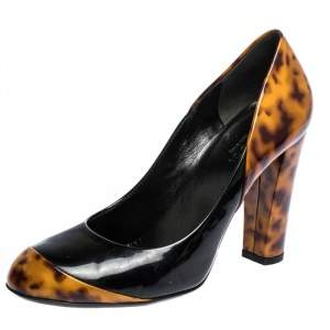 Gucci Black And Tortoise Patent Leather Pumps Size 36